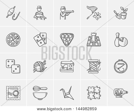 Hobby sketch icon set for web, mobile and infographics. Hand drawn hobby icon set. Hobby vector icon set. Hobby icon set isolated on white background.