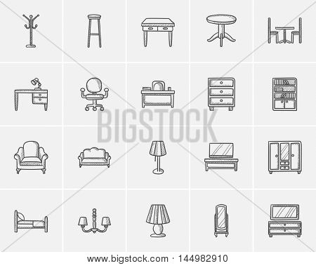Furniture sketch icon set for web, mobile and infographics. Hand drawn furniture icon set. Furniture vector icon set. Furniture icon set isolated on white background.