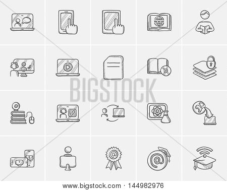Self-education sketch icon set for web, mobile and infographics. Hand drawn self-education icon set. Self-education vector icon set. Self-education icon set isolated on white background.