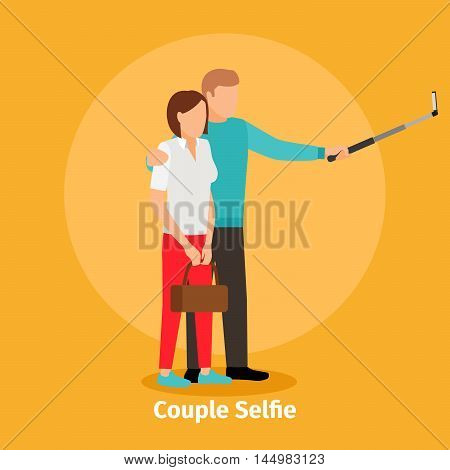 Fashion couple Selfie view for photo mobile app. Vector illustration