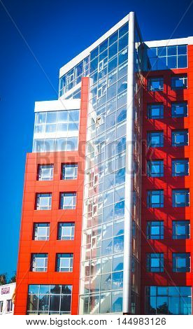 Modern Modernistic Red Building With Square Windows Entire Building