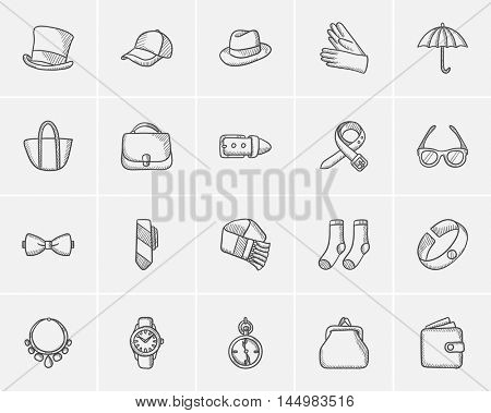 Accessories sketch icon set for web, mobile and infographics. Hand drawn accessories icon set. Accessories vector icon set. Accessories icon set isolated on white background.