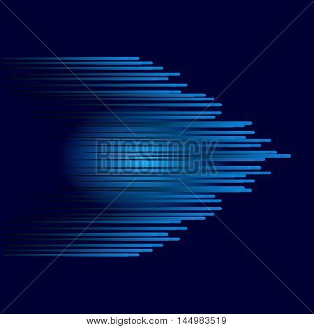 Blue abstract arrow. Blue arrow on dark background. Abstract background the speed. Vector Line and speed.