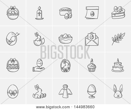 Easter sketch icon set for web, mobile and infographics. Hand drawn easter icon set. Easter vector icon set. Easter icon set isolated on white background.