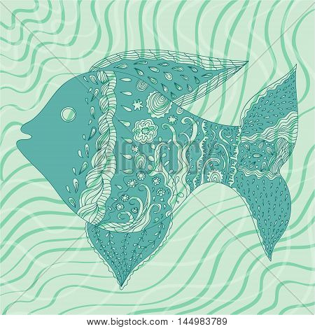 Vector monochrome miracle fish on a sea water background. Illustration for marine and food theme fishing image design element textile and printed production.
