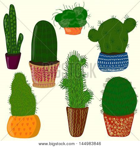 Vector cartoon set of most recognizable sorts of cactuses. Design and decoration element florist theme illustration for books and magazines textile and printed goods image.