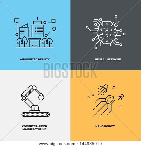 Education knowledge intelligence neuroscience vector concepts. Brain and innovation technology with intellect illustration