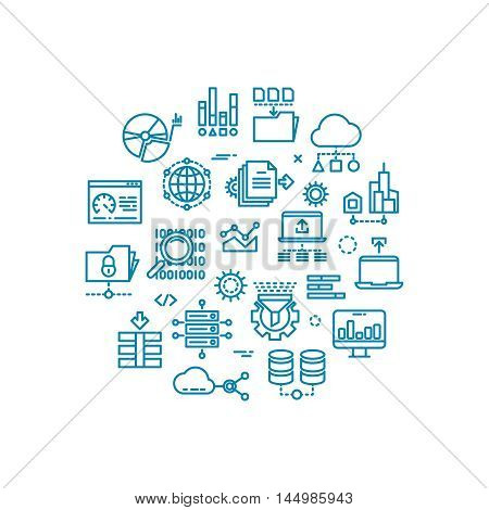 Big computer data outline vector icons in circle design. Web connect and process transfer and storage document illustration