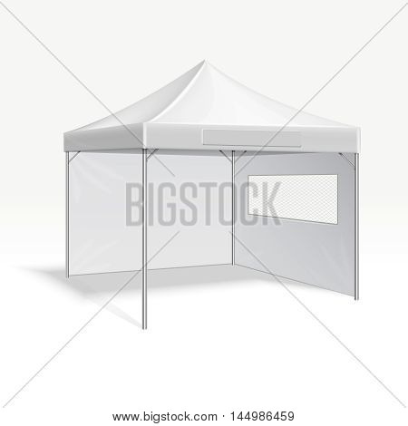 Promotional advertising folding tent vector illustration for outdoor event. Cover frame protection from sun and rain