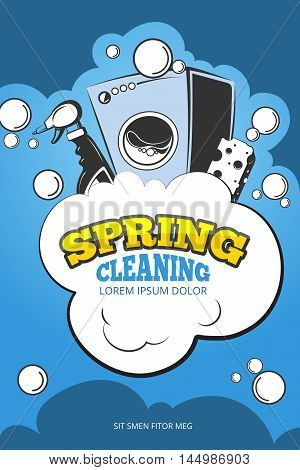 Spring cleaning service vector concept background. Housework and housekeeping, washing laundry illustration