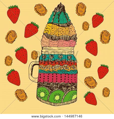 Hand drawn vintage illustration of parfait in special jar decorated with strawberries and corn flakes. Food and confectionery theme illustration. Decoration of catering and kitchens.