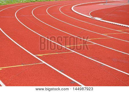 Athletic stadium. Running track. Start running track.