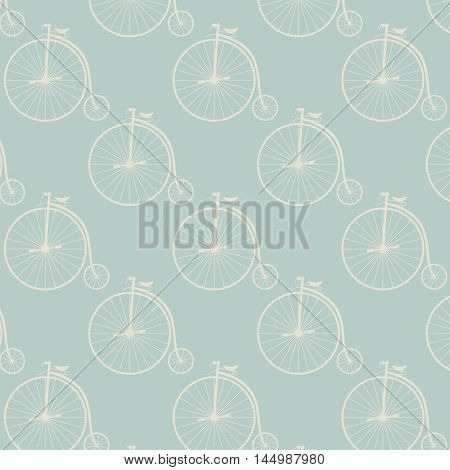 Vintage high wheeler seamless pattern. Stylish retro print for covering or wrapping.  Illustration background.