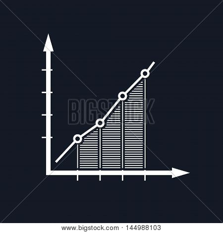 Chart , Graphic Success, Graph Growth Isolated on Black Background, Vector Illustration