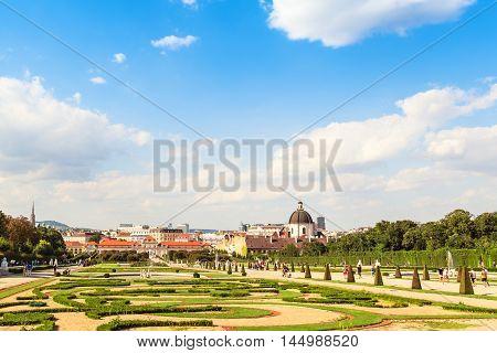 View at Orangery and garden of Belvedere palace Vienna Austria