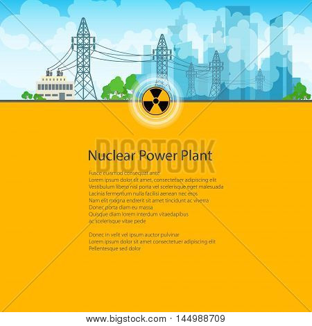 High Voltage Power Lines Supplies Electricity to the City, Poster Brochure Flyer Design, Text on Yellow Background, Radiation Sign, Vector Illustration