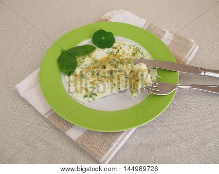 Homemade egg white omelet with fresh herbs