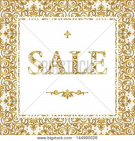 Vintage Sale Discount Banner In Eastern Style.