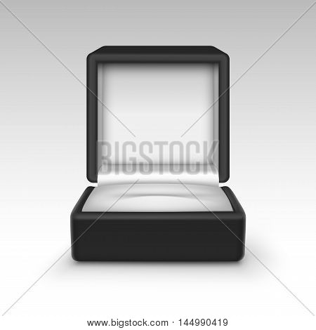 Vector Empty Black Velvet Opened gift jewelry box Close up Isolated on White Background