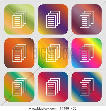 Copy File, Duplicate Document Icon . Nine Buttons With Bright Gradients For Beautiful Design. Vector