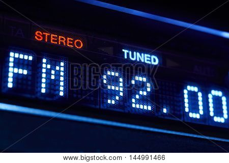 FM tuner radio display. Stereo digital frequency station tuned. Horizontal poster