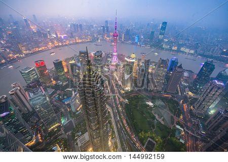 night view of the bund,shanghai,china.