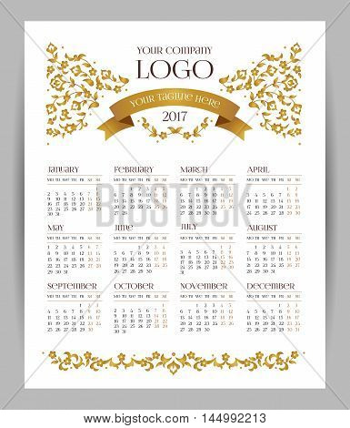 Vector Calendar For 2017, Golden Floral Decor.