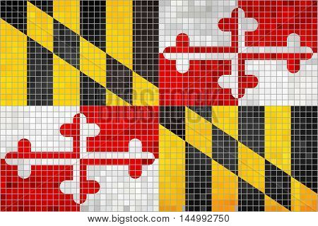 Abstract Mosaic flag of Maryland - illustration,  The flag of the state of Maryland,  Maryland grunge mosaic flag