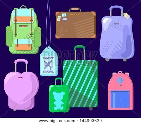 Travel luggage set on blue background. Isolated voyager's bags: city backpack, outdoor backpack, leather vintage case, woman pink heart case, parents and child case, suitcase with tag. Happy travel