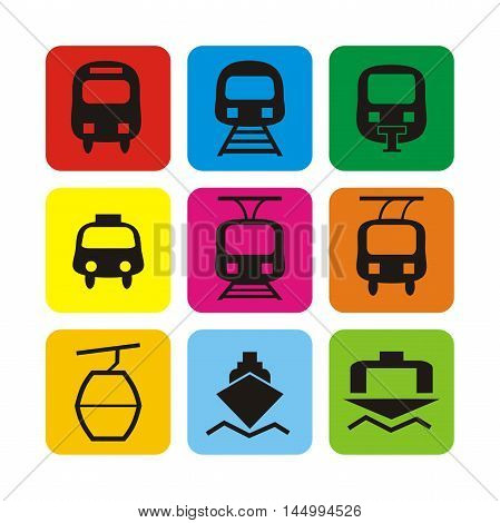 Vector set icons: bus, train, taxi, monorail, tram, trolley, cable car, ferry, port