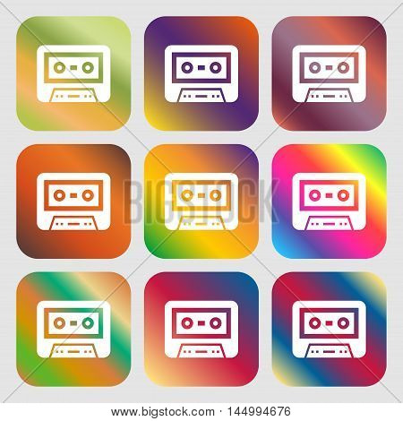 Audiocassette Icon . Nine Buttons With Bright Gradients For Beautiful Design. Vector