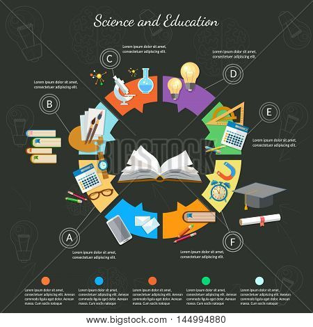 Science and education infographics open book of knowledge school background education diagram learning vector