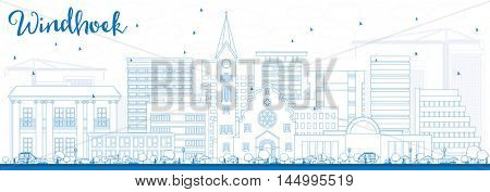 Outline Windhoek Skyline with Blue Buildings. Vector Illustration. Business Travel and Tourism Concept with Modern Buildings. Image for Presentation Banner Placard and Web Site.