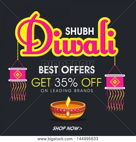 Shubh Diwali Sale Banner, Best Offers Flyer, Special Discount Poster, 35% Off, Sale background with hanging kandil lamps and oil lamp (Diya) decoration, Indian Festival of Lights celebration concept.