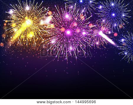 Beautiful festive holiday background with colorful firework explosion or blast over night sky, Elegant sparkling vector illustration.