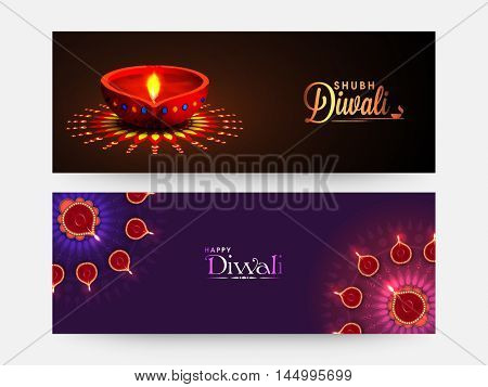 Creative website header or banner set, Beautiful background decorated with illuminated Oil Lamps (Diya) and Floral Rangoli for Indian Festival of Lights, Happy Diwali (Shubh Diwali) celebration.