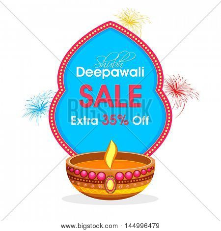 Shubh Deepawali Sale with Extra 35% Off, Diwali Sale Banner, Special Discount Flyer or Poster design, Creative typographic background with creative oil lamp for Indian Festival of Lights celebration.