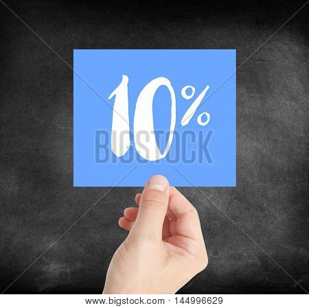 10 percent written on a card