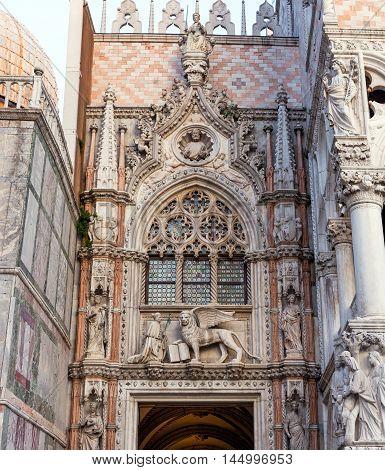 Porta della Carta detail, Doge's Palace main entrance, Venice, Italy.