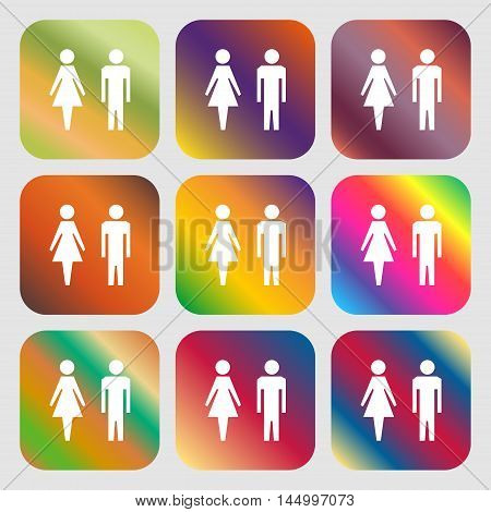 Wc Sign Icon. Toilet Symbol. Male And Female Toilet . Nine Buttons With Bright Gradients For Beautif
