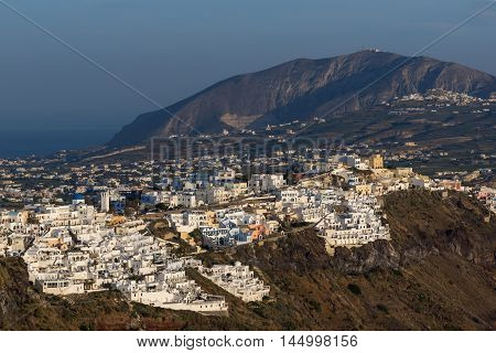 Panorama to town of Fira and Prophet Elias peak, Santorini island, Thira, Cyclades, Greece