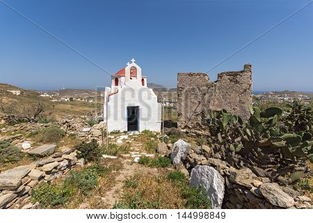 Amazing view of medieval fortress and White church, Mykonos island, Cyclades, Greece
