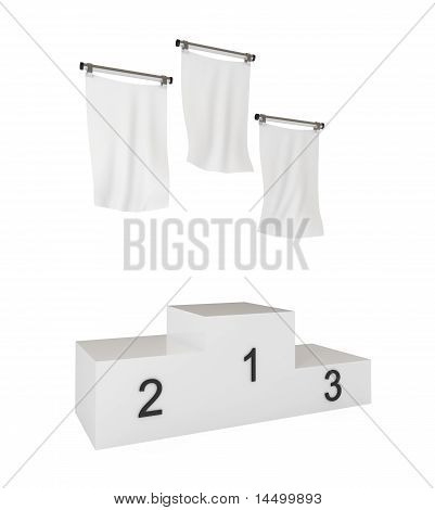 Podium, Winners, with Blank Flags, Isolated on White