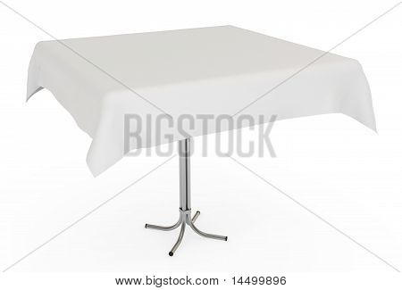Table with White Cloth, Isolated on White with Clipping Path