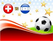 Switzerland versus Honduras on Abstract Red Background with Stars Original Illustration poster