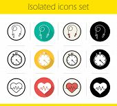 Cardio training icons set. Flat design, linear, black and color styles. Skipping rope, stopwatch and heartbeat symbols. Isolated vector illustrations poster