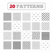 Ornament patterns, diagonal stripes and stars. Programmer coder glasses icon. HTML markup language and PHP programming language sign symbols. Geometric textures. Vector poster