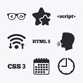 Programmer coder glasses icon. HTML5 markup language and CSS3 cascading style sheets sign symbols. Wifi internet, favorite stars, calendar and clock. Talking head. Vector poster