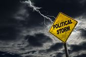 3D rendering of Political Storm sign against a stormy background with lightning and copy space. Dirty and angled sign adds to the drama. Conceptual of dirty politics party politics election year campaigns etc. poster
