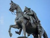 The equestrian statue of Frederick the Great is an outdoor sculpture in cast bronze at the east end of Unter den Linden in Berlin honoring King Frederick II of Prussia. poster